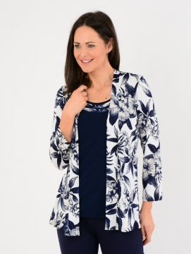 White Navy Floral Mock Cardigan