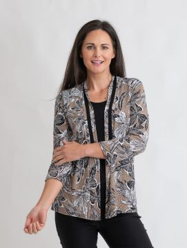 floral print mock cardigan with contrast trim round neck 3/4 sleeve