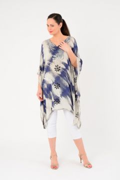 Navy And White Tie Dye Cape