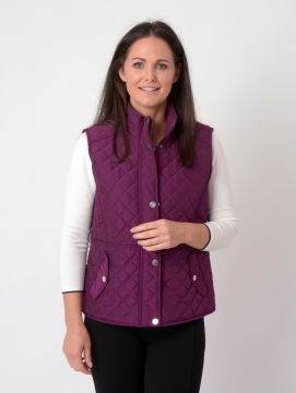 quilted gilet with print lining stud pockets