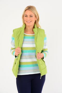 Quilted Gilet With Zipper Pockets And Trims