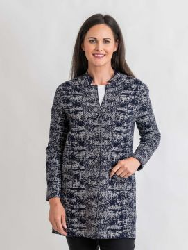 Abstract pattern knit jacket with button long sleeve