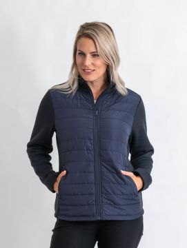 Navy fleece and quilting jacket with zip and long sleeve