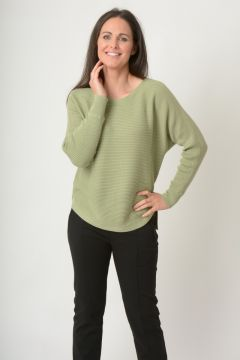 curved hem rib jumper with batwing sleeve round neck