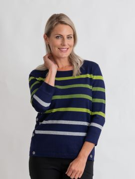 stripe jumper with side button detail round neck and 3/4 sleeve