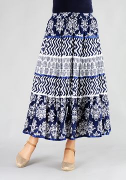 Blue White Print Tiered Skirt With Ribbons