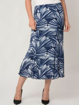 Swirl print skirt with godets and elasticated waist with tie belt