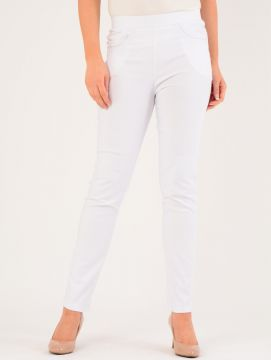 """White 29"""" Leg Embroidered Pocket Trousers"""