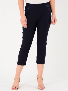 """Navy 22"""" Leg Embroidered Pocket Trousers"""