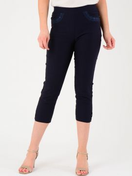 Navy Embroidered Pocket Trousers