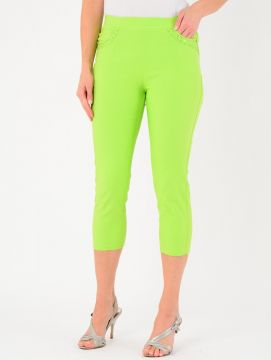 "Lime 22"" Leg Embroidered Pocket Trousers"