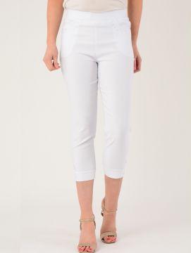 Embroidered Pocket White Trousers