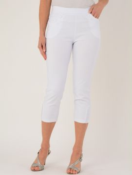 White Cropped Embroidered Pocket Trousers