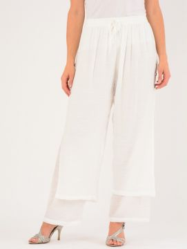 Crinkle Fabric Double Layer Trousers