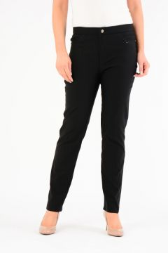 """29"""" leg zip and button front trouser with embroidered pocket"""
