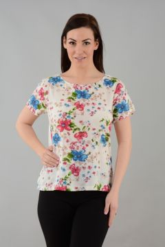 Floral Print Top Round Neck