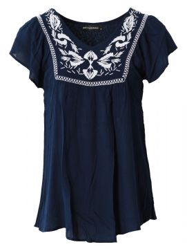V neck embroidered panel top with  frill sleeve