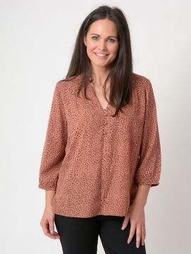 animal print frill collar top with buttons V neck 3/4 sleeve