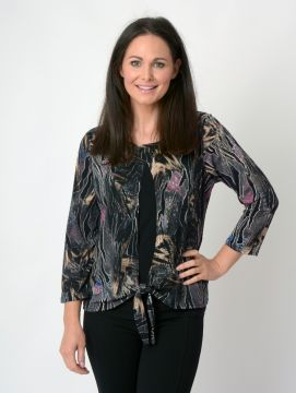 Abstract print tie front layered top round neck 3/4 sleeve