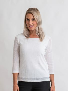 Square pattern top square neck 3/4 sleeve .