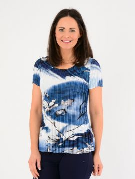 Abstract Print Pleated Top