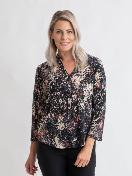 speckle print top with button placket V neck 3/4 sleeve