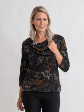 scattered leaf cowl neck top with buttons round neck 3/4 sleeve
