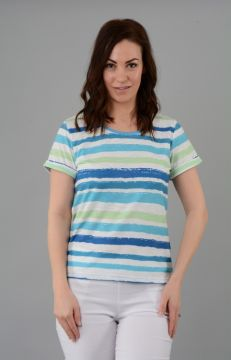 Stripe T Shirt With Turn Up