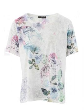 Floral Printed Burn Out T Shirt