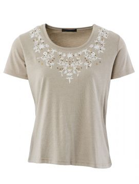 Embroidered Flower T Shirt