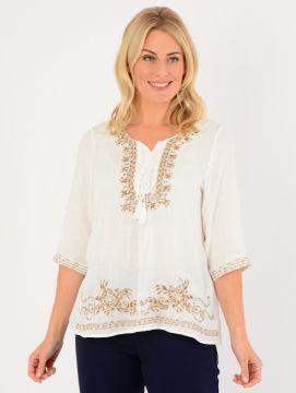 White Beige Embroidered Tunic