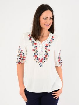 Multi Floral Embroidery Tunic