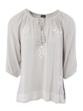 Embroidered Crinkle Fabric Tunic