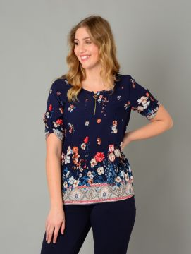 Navy Floral Print Tunic