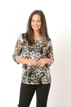 Floral print lace tunic with side splits , round neck and 3/4 sleeve