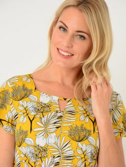 Lemon Leaf Print Dress