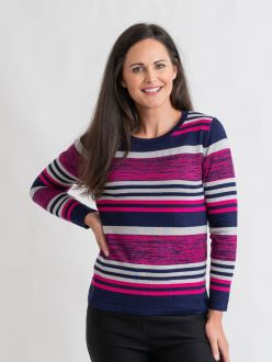 Space dye stripe jumper with round neck and long sleeve