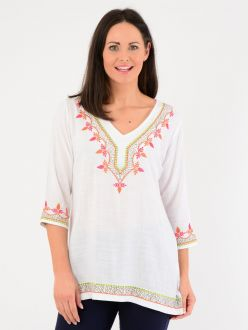 Embroidered V Neck Tunic